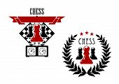 picture of chessboard  - Chess game emblems or symbols with pawns - JPG