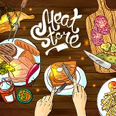 stock photo of meats  - Beautiful hand drawn sketch illustration different kinds of meat and meat products on the wood texture top view - JPG