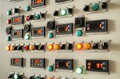 stock photo of indications  - Industry factory control panel with switches and digital indicators - JPG