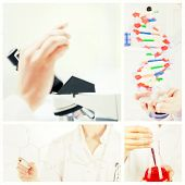 stock photo of double helix  - Young woman looking at a microscope slide against portrait of a cute scientist showing the dna double helix model - JPG