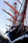 picture of sailing vessels  - a sailing vessel in a port in France  - JPG