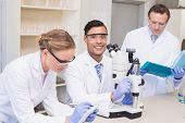picture of concentration  - Concentrated scientists working together in laboratory - JPG