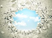 picture of wall cloud  - breaking wall and blue sky with clouds - JPG