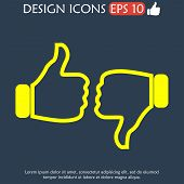 foto of thumb  - Thumb up and thumb down icon flat design - JPG