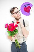 pic of bunch roses  - Geeky hipster offering bunch of roses against happy mothers day - JPG