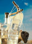 picture of ouzo  - Traditional Greek ouzo at the beach - JPG