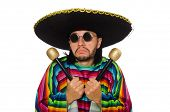 picture of maracas  - Handsome man in vivid poncho holding maracas isolated on white - JPG