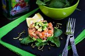 stock photo of tartar  - Tasty salmon and avocado tartar dark background - JPG