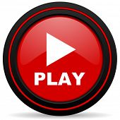 stock photo of proceed  - play red glossy web icon  - JPG