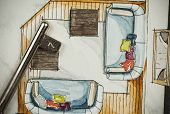 image of freehand drawing  - Watercolor and ink freehand sketch drawing of apartment flat floor plan partial fragment with metal key - JPG