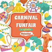 foto of carnival ride  - Fun fair traveling circus and carnival promo poster vector illustration - JPG