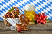 picture of pretzels  - Fresh pretzels in a breadbasket - JPG