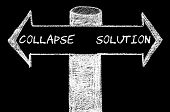 foto of collapse  - Opposite arrows with Collapse versus Solution. Hand drawing with chalk on blackboard. Choice conceptual image - JPG