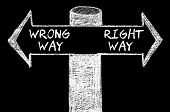 pic of opposites  - Opposite arrows with Wrong Way versus Right Way. Hand drawing with chalk on blackboard. Choice conceptual image - JPG