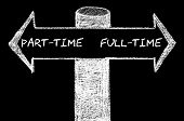 pic of opposites  - Opposite arrows with Part-Time versus Full-Time. Hand drawing with chalk on blackboard. Choice conceptual image - JPG