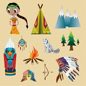 stock photo of wigwams  - The set of objects and elements of Indian daily life - JPG