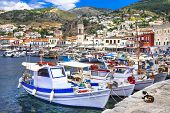 stock photo of hydra  - pictorial port of Hydra island - JPG