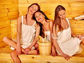 pic of sauna woman  - Group people young women relaxing in sauna - JPG