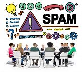 stock photo of malware  - Spam Problem Virus Online Malware Hacking Concept - JPG
