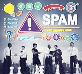 foto of malware  - Spam Problem Virus Online Malware Hacking Concept - JPG