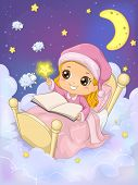 stock photo of counting sheep  - Whimsical Illustration of a Girl Reading a Book in the Sky  - JPG