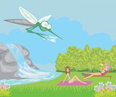 picture of mosquito repellent  - hungry mosquito and girls in park   - JPG