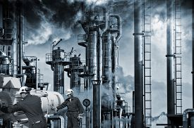 foto of pipeline  - two workers with pipelines machinery - JPG