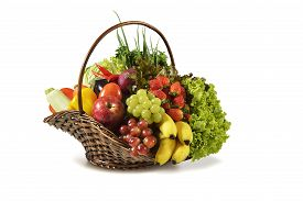 foto of nic  - Photograph studio in a basket with various fruits and vegetables on white background - JPG