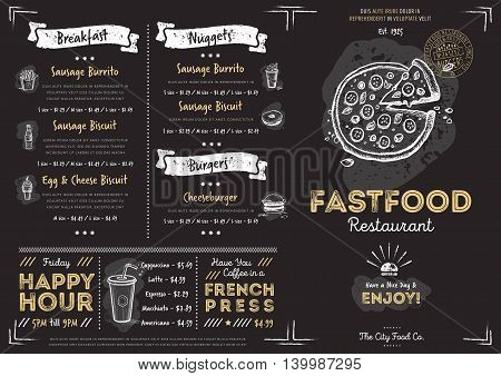 Chalkboard Menu Design Template Background Fast Food