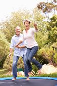picture of portrait middle-aged man  - Couple Jumping On Trampoline In Garden - JPG