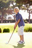 Постер, плакат: Молодой мальчик практикующих гольф на сдачи на Грин