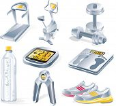 foto of rep  - Vector fitness equipment icon set - JPG