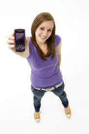 pic of mobile-phone  - Teenage Girl With Mobile Phone - JPG