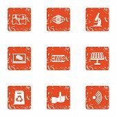 Scientific Cognition Icons Set. Grunge Set Of 9 Scientific Cognition Vector Icons For Web Isolated O poster