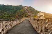 China The Great Wall Distant View Compressed Towers And Wall Segments Autumn Season In Mountains Nea poster