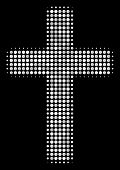 Religious Cross Halftone Vector Icon. Illustration Style Is Dot Iconic Religious Cross Symbol On A B poster