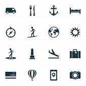 Journey Icons Set With Aircraft, Skier, Monument And Other Camera Elements. Isolated  Illustration J poster