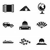 International Journey Icons Set. Simple Set Of 9 International Journey Vector Icons For Web Isolated poster
