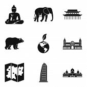 Way Of Journey Icons Set. Simple Set Of 9 Way Of Journey Vector Icons For Web Isolated On White Back poster