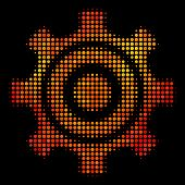 Dot Cogwheel Icon. Bright Pictogram In Hot Color Tints On A Black Background. Vector Halftone Collag poster