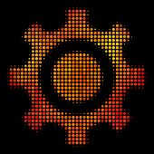 Dotted Cogwheel Icon. Bright Pictogram In Hot Color Tinges On A Black Background. Vector Halftone Pa poster