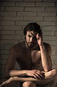 Bathroom And Home Comfort. Spa And Relaxation, Sexy Man. Man With Muscular Body In Bath. Guy With We poster