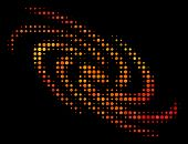 Dotted Galaxy Icon. Bright Pictogram In Fire Color Tints On A Black Background. Vector Halftone Conc poster