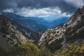 Vast Canyon On A Cloudy Day In The Angeles National Forest Along The Scenic Angeles Crest Scenic Byw poster