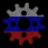 Halftone Cogwheel Pictogram Colored In Russia Official Flag Colors On A Dark Background. Vector Coll poster