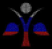 Halftone Ecology Man Icon Colored In Russia Official Flag Colors On A Dark Background. Vector Patter poster