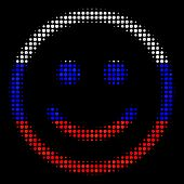 Halftone Glad Smiley Icon Colored In Russian Official Flag Colors On A Dark Background. Vector Mosai poster