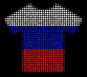 Halftone T-shirt Pictogram Colored In Russian Official Flag Colors On A Dark Background. Vector Mosa poster