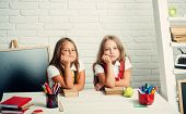 School Time Of Girls. Back To School And Home Schooling. Little Girls Eat Apple At Lunch Break. Frie poster