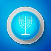 White Hanukkah Menorah Icon Isolated On Blue Background. Religion Icon. Hanukkah Traditional Symbol. poster
